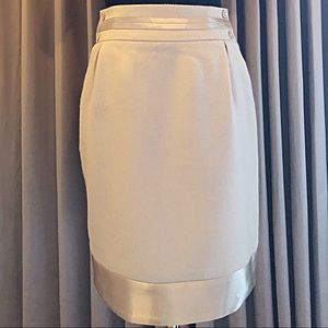 Body by Victoria Wool Satin Trim Grey Pencil Skirt